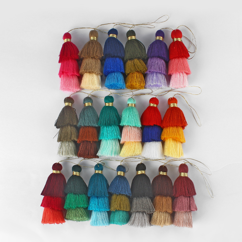 8pcs Three Layer Cotton Tassel Colorful Jewelry For Earring Necklace Bracelet Fashion Jewelry Making Findings 40mm