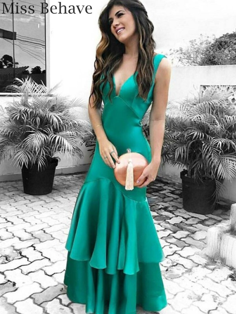 DD JYOY Green Satin Evening Dress Long Sexy Open Back Mermaid Evening Gown Party for Women Sleeveless with Open Back