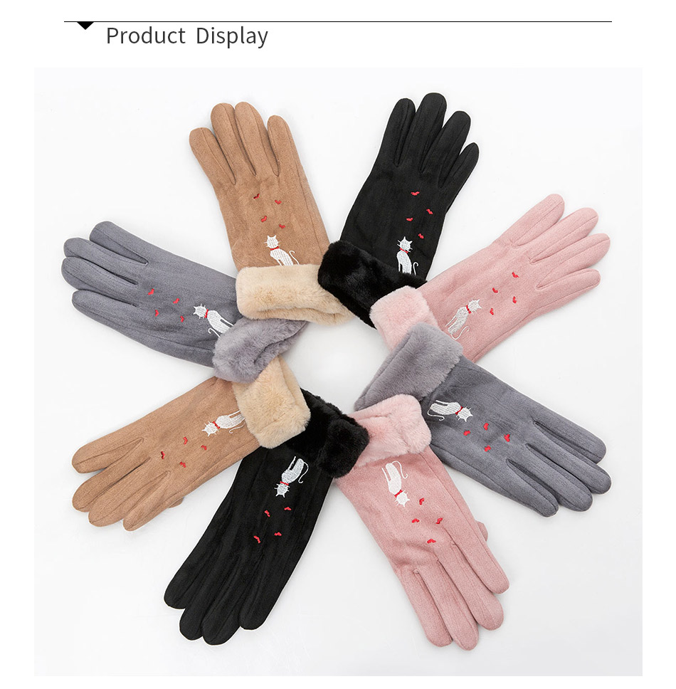 Winter Women Touch Screen Gloves with Embroidery made with a Special Conductive Fabric into Finger Tips for fast Navigation of All Touch Screen Device 10