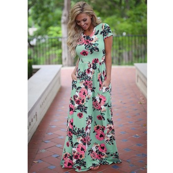 Women Long Maxi Dress 2021 Summer Floral Print Boho Beach Dress Short Sleeve Evening Party Dress Tunic Vestidos Plus Size XXXL 1