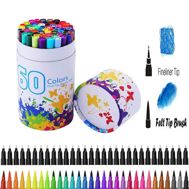 60 Color Dual Tip Brush Pen Felt-Tip Pen Fine Liner Drawing Painting Watercolor Art Marker Pen For Coloring Manga Calligraphy