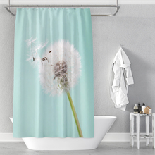 Dandelion flower background digital printing bathroom shower curtain without punching waterproof factory direct sales vintage postage stamp digital printing mouldproof shower curtain for bathroom