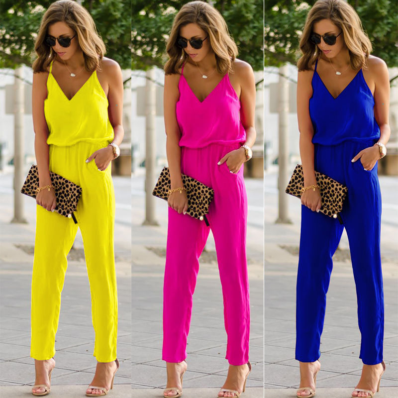 Women Ladies V-Neck Spaghetti Strap Bodycon Jumpsuit Straight Long Pant Trousers Clubwear New