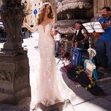 Booma изысканное свадебное платье русалка с кружевом декольте длинные прозрачные рукава светло-розовый свадебное платье на заказ плюс размер