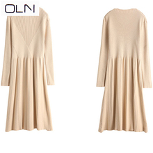Autumn dress OLN Korean vestidos new arrival wholesaleWinter 2019  thin high waist long sleeve knit dress female bottom dress surplice high waist knit dress