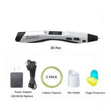 3d caneta SL-300 pla abs filamento 100m temperatura ajustável crianças caneta mágica diy 3d impressão canetas com tela led