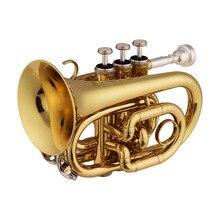 Мини карманный Bb Труба плоский латунный материал духовой инструмент с Мундштук перчатки, Чистящая салфетка чехол для переноски