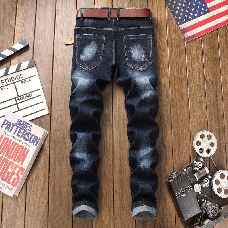 Fashion Elastic Slim Fit Skinny Straight Mens Jeans Pants New Design Chinese Style Chic Embroidery Males Full Length Trousers