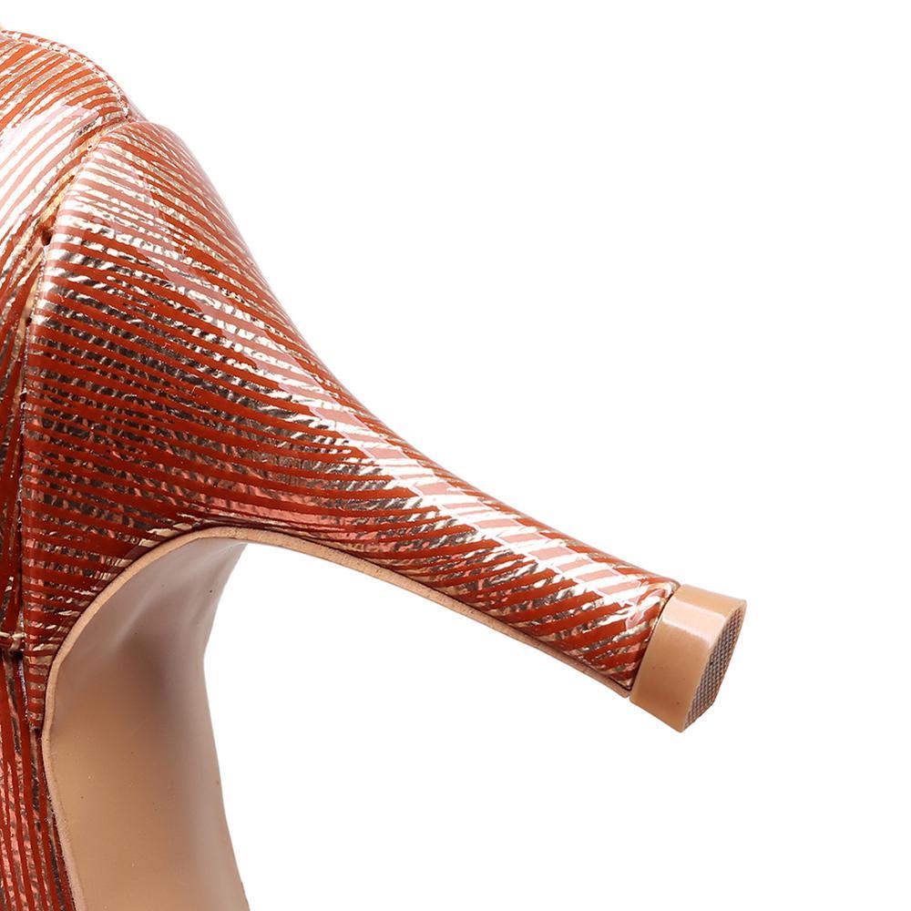 Купить с кэшбэком Brown PU salsa tango latin jazz shoes, a pair of open-toe high-heeled shoes suitable for dancing female standard ladies