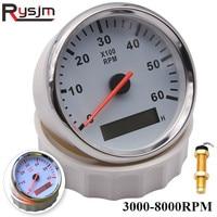 Tacómetro Universal para barco, medidor de tacómetro marino de 85mm, LCD, reloj de arena, 6000RPM, 8000 RPM, 12V/24V