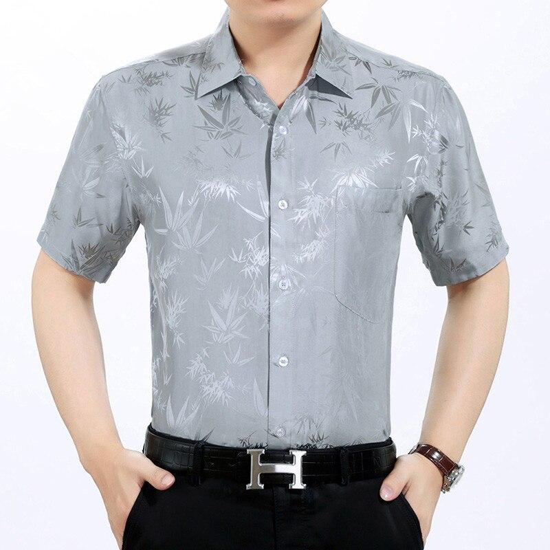 Summer 100% Silk Shirt Men Short Sleeve White Shirt Loose Mens Dress Shirts High Quality Formal Camisa Masculina KJ1946