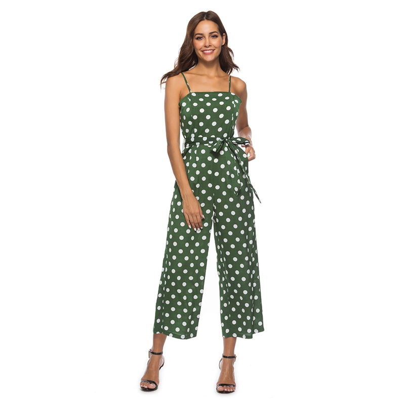HANIBABA Rompers New Sling   Jumpsuit   Tube Top White Polka Dot Pocket Belt Straight Loose Pants Casual Office Women's Overalls