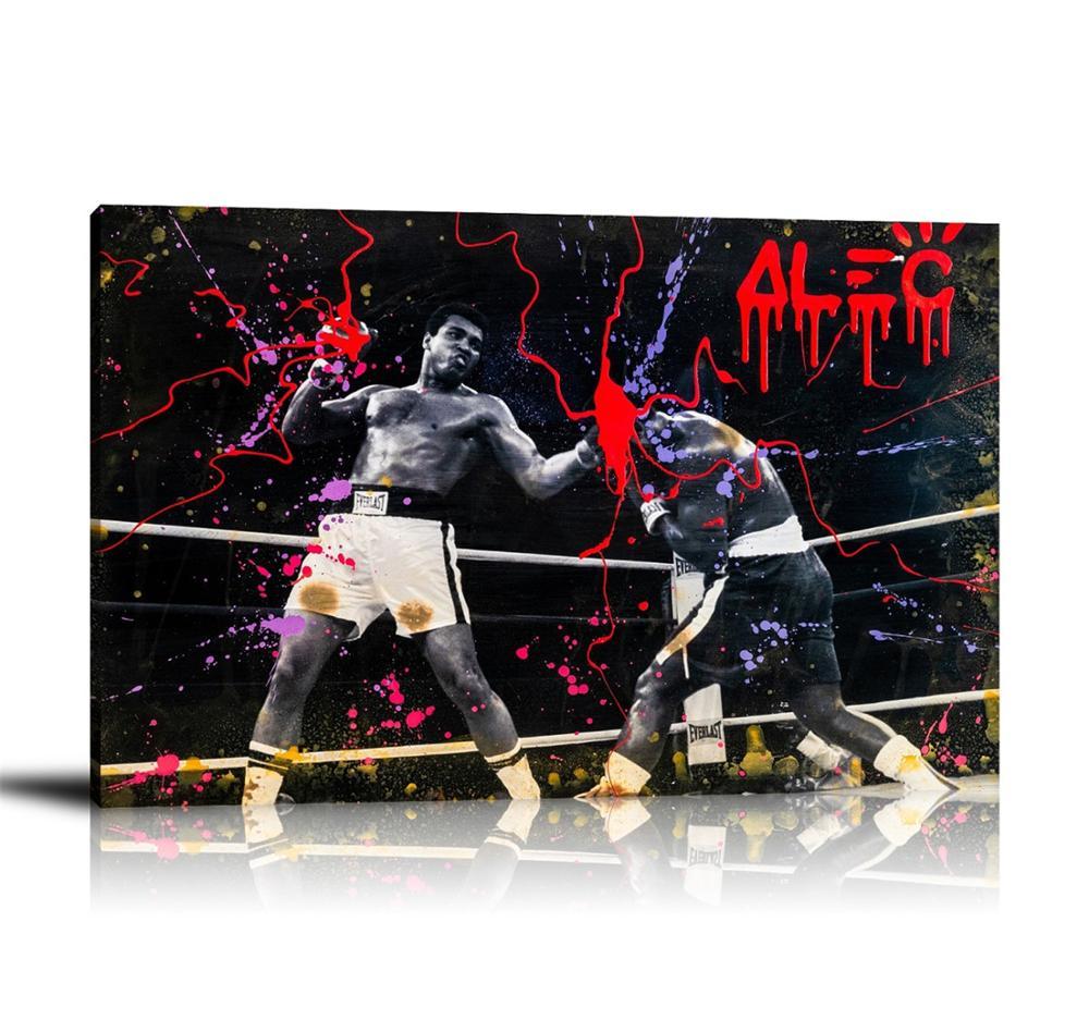 HD imprimer Alec monopole peinture à lhuile décor à la maison mur Art sur toile Ali boxe BW toile impression toile peinture