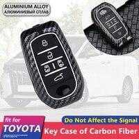Metall Carbon Fiber Auto Schlüssel Abdeckung Fall 5 Tasten für Toyota Alphard Vellfire AH30 30 2016 ~ 2020 2019 Keychain ring Zubehör-in Schlüsseletui für Auto aus Kraftfahrzeuge und Motorräder bei