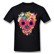 Skull Flowers Floral T-shirt For Men Plus Size Cotton Team Tee Shirt 4XL 5XL 6XL Camiseta(China)