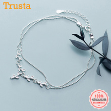 Anklets Silver Authentic Jewelry Beads 925-Sterling-Silver Women Fashion for Fine DS2419