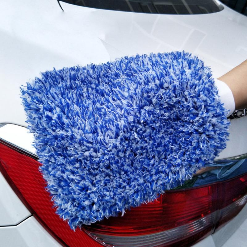 Household double-sided special car wash tool cleaning gloves thick plush chenille wipe car set hand rag type rags