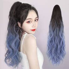 Ombre cor garra em rabo de cavalo sintético feminino clip em extensões de cabelo ondulado encaracolado estilo pônei cauda hairpiece marrom loira penteado