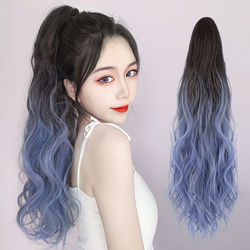 Ombre Color Claw on Ponytail Synthetic Women Clip in Hair Extensions Wavy Curly Style Pony Tail Hairpiece Brown Blonde Hairstyle