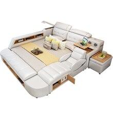 1,8 м двухспальная кровать из коровьей кожи мягкая кровать массажер Современная многофункциональная татами кожаная кровать с Bluetooth динамиком