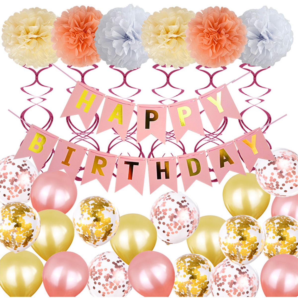 2019 Birthday Party Supplies Decoration Kit 12inch Balloons Happy Birthday Banner Hanging Swirls Latex Balloons Sequins Balloons