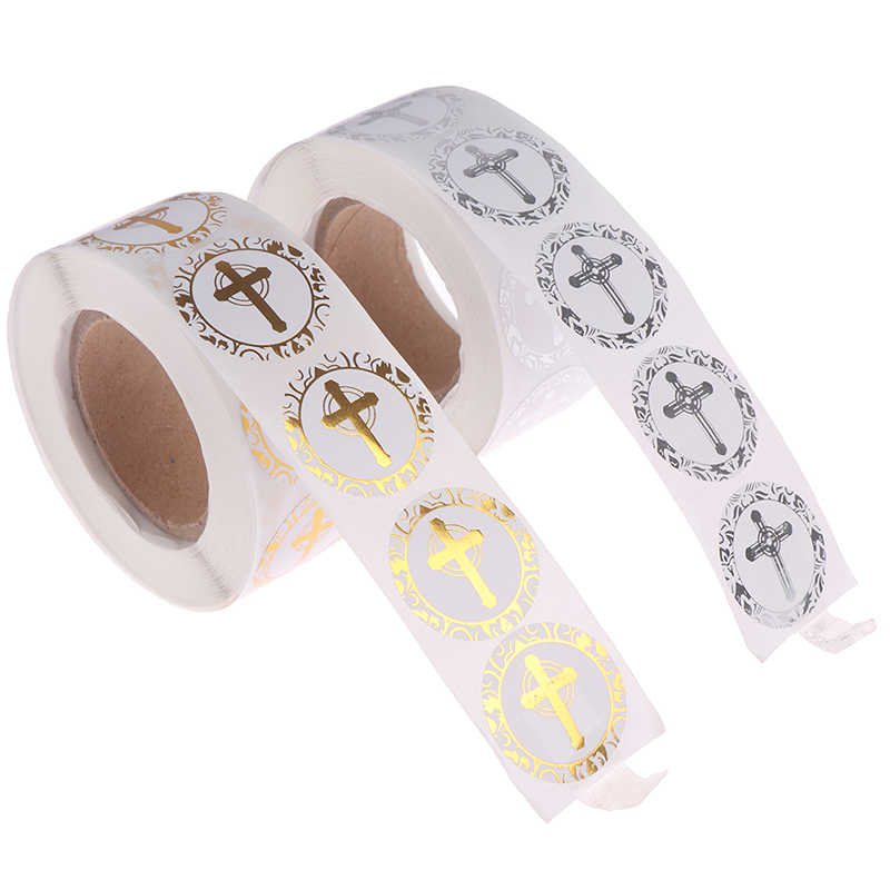 Gold Or Silver Foil Round Labels Religious Christian Cross Stickers For Christening Communion Christian Occassions Sealing