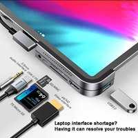 Baseus USB C HUB to HDMI USB 3.0 USB HUB for iPad Pro Card Reader USB Splitter for MacBook Pro Surface Go 6 Ports USB C HUB