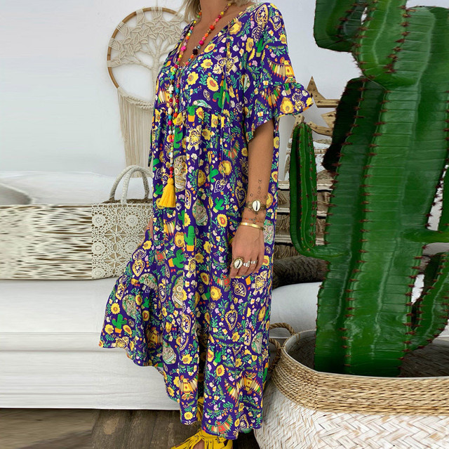 JAYCOSIN Summer Dress Women Loose Short Sleeve V-Neck Long Dress Slipt Maxi dresses for women vestidos Plus Size Dresses