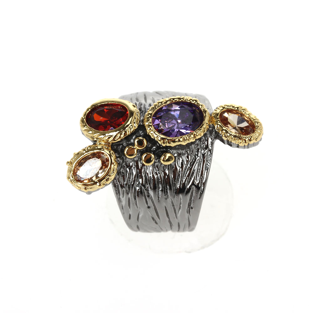 WA11781 DreamCarnival1989 Creative Multi-Colors Cubic-Zirconia-Ring for Women Black-Gold Gothic Rings Amazing Price Hot Pick (6)