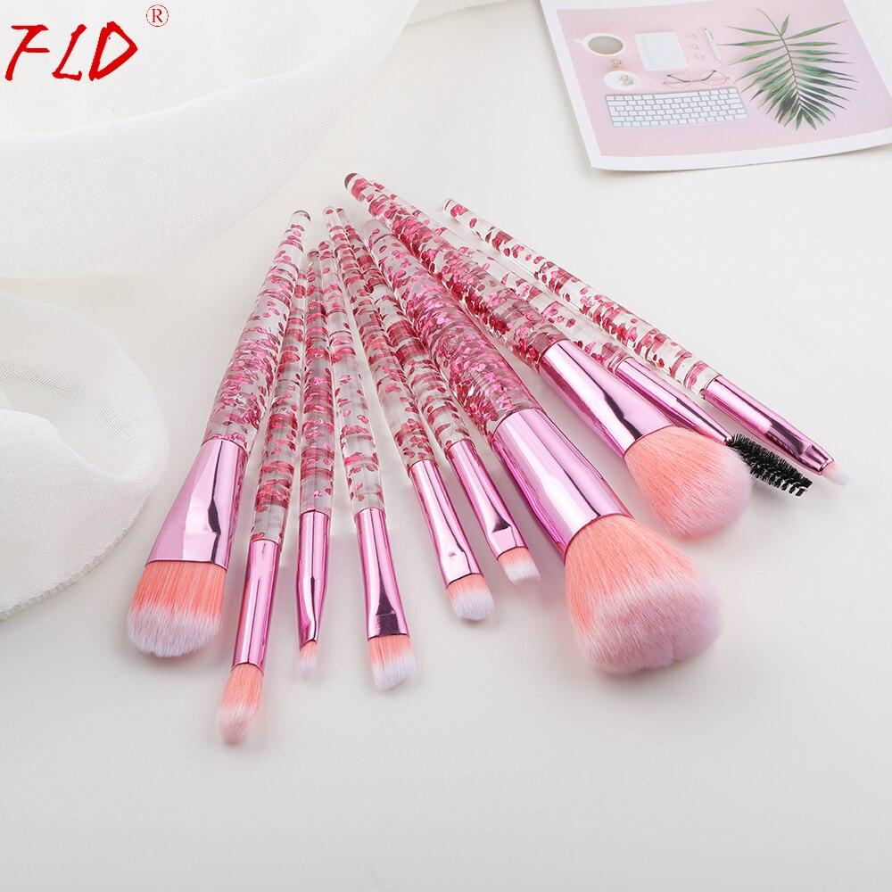 FLD 10 Stück Glitter Make-Up Pinsel Set Kristall Griff Pulver Pinsel Foundation Augenbrauen Gesicht Mascara Erröten Eyeliner Werkzeuge Kits