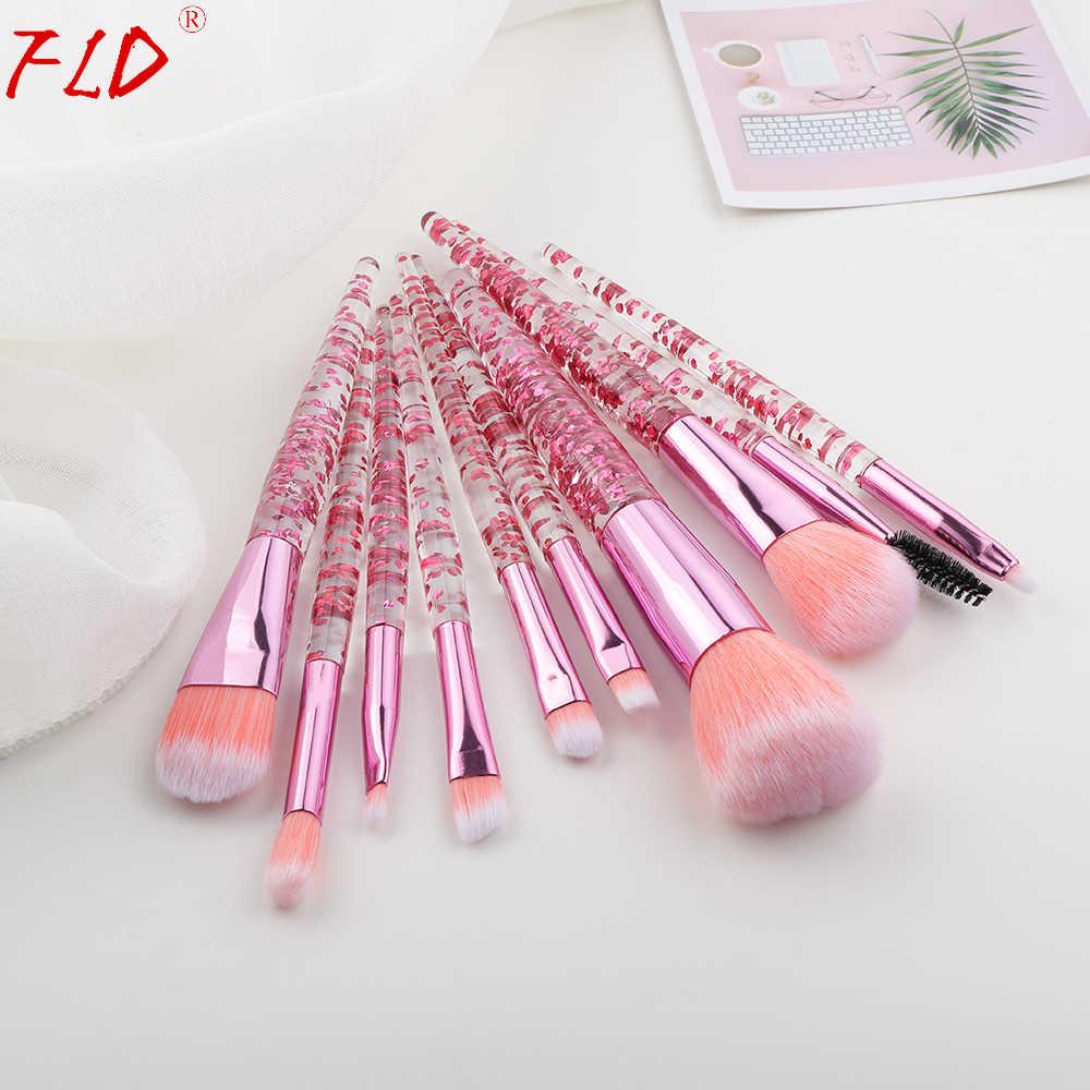 FLD 10 pièces paillettes maquillage pinceaux ensemble cristal poignée poudre brosse fond de teint sourcil visage Mascara Blush Eyeliner outils Kits