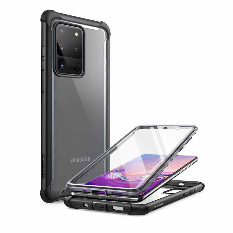 For Samsung Galaxy S20 Ultra 5G Case (2020) i-Blason Ares Dual Layer Rugged Clear Bumper Case WITH Built-in Screen Protector