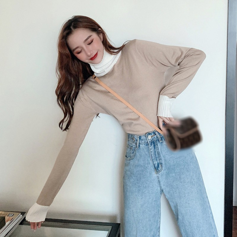 Thicken Knitted Women Turtleneck Sweaters Autumn Winter Korean Sweet Pullover Long Sleeve Bottoming Harajuku Jumpers