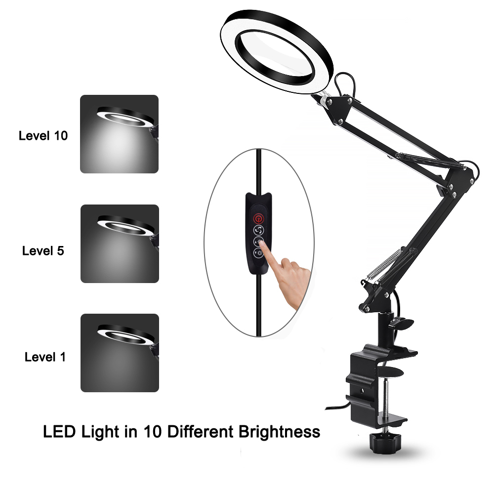 Tools : 5X USB Magnifying Glass with LED Light Flexible Table Clamp Third Hand Soldering Reading Jewelry Magnifier Desk Lamp