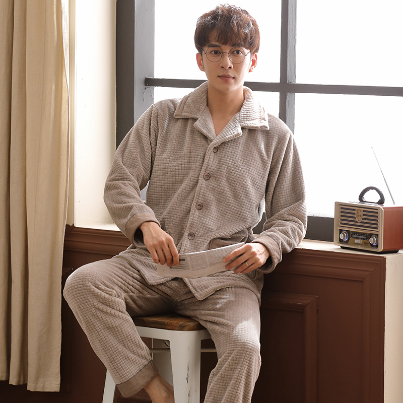 Men Cardigan Pajamas Set Warm Flannel Male Long-sleeved Autumn Winter Pyjama Loose Men Home Set Coral Fleece Sleepwear Top+ Pant
