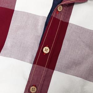 Image 5 - 2020 New Men 100% Cotton Plaid Shirt Long Sleeve Slim Fit Dress Shirts Casual Fashion Business Social Shirt Plus Size M 3XL 099