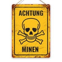 Achtung Minen! Metall Zinn Zeichen Plaque Kunst