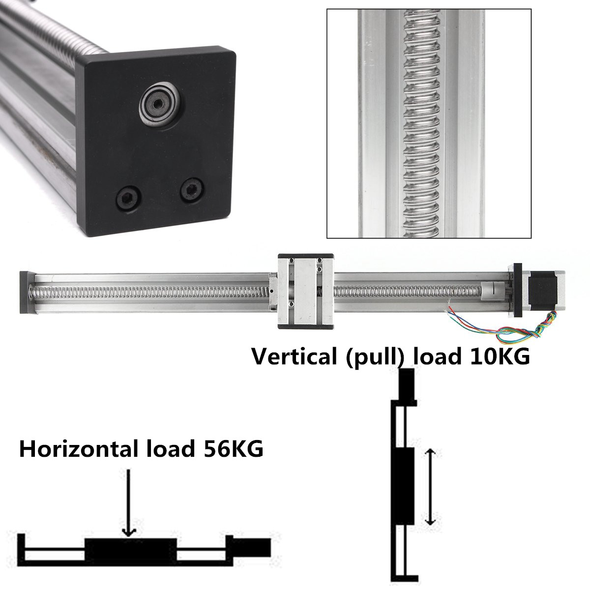 400MM1204 Ball Screw Linear CNC Z Axis Slide Stroke  Actuator Stepper Motor Kit  DIY Linear Motion Milling Kit|Woodworking Machinery Parts| |  - title=