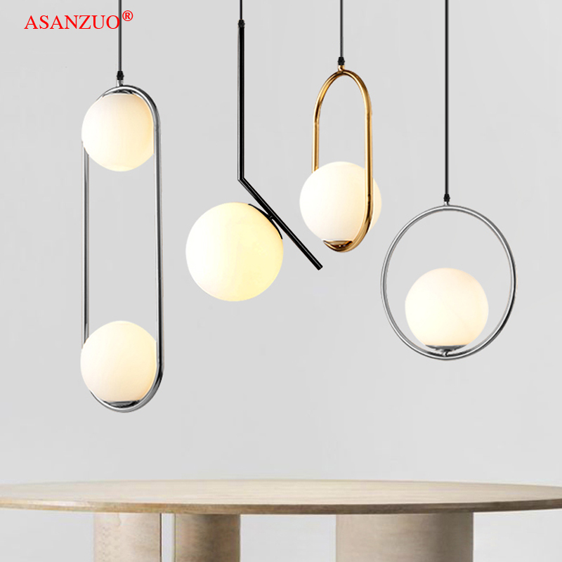 Nordic Bedroom Metal Bedside Pendant Lamp Simple Bar Table Dining Room Dining Table Lamp Fixture