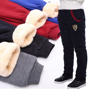Winter Pants for Boy Kids Warm Thick Fleece Fur Lining Leggings Sport Trousers 4Y-14Y Teen Boys Straight Full Leggings Joggers 1