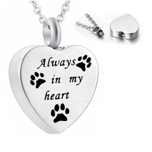 Memorial-Pendant Urn-Necklace Ash-Jewelry Paw Cremation My-Heart-Pet Dog 1pcs Always