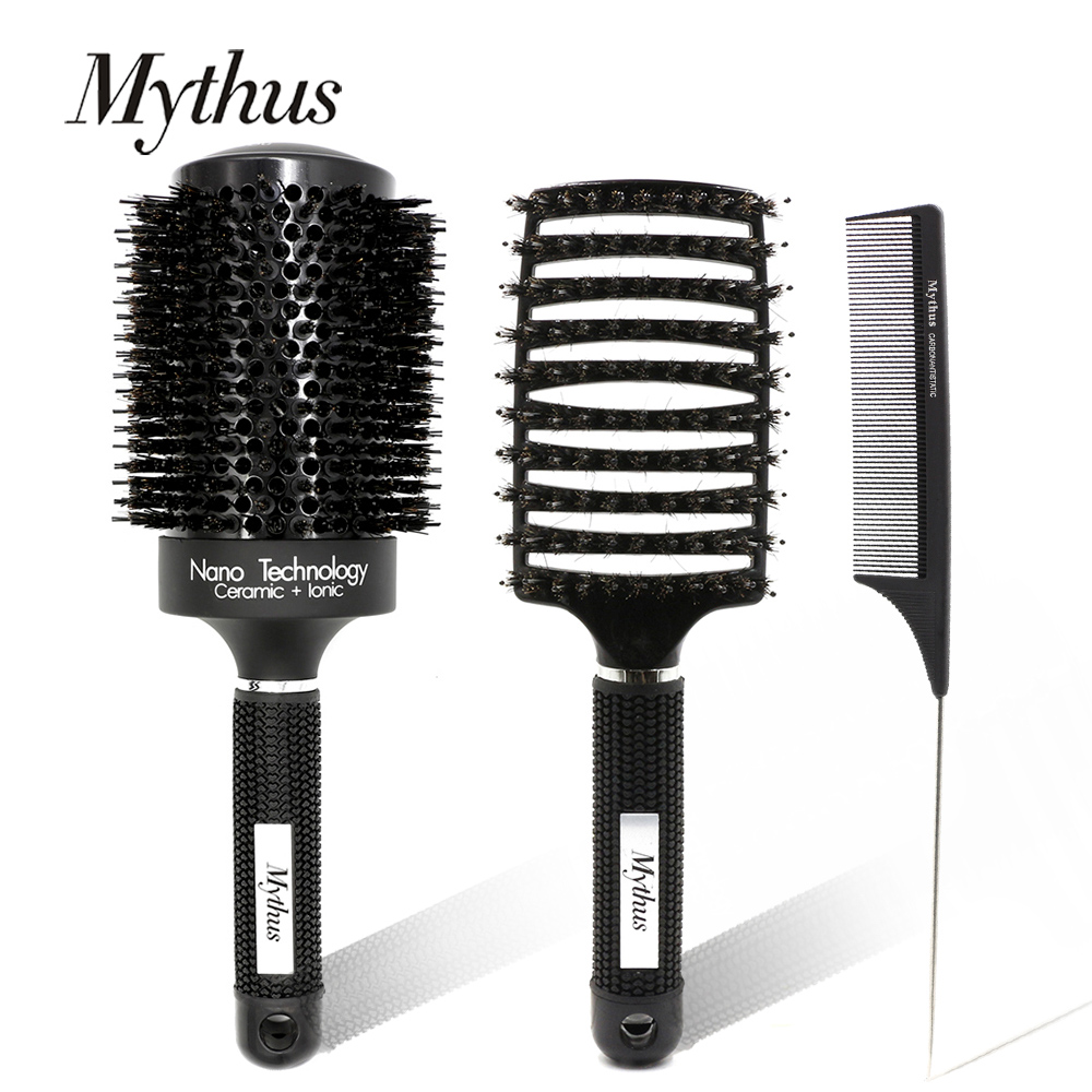 Mythus 3pcs Hair Brush And Comb Set Round Ceramic Ionic Hairdressing Brush Detangling Brush Tail Comb Professional Hair Combs