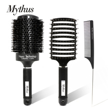 Mythus 3pcs Hair Brush And Comb Set Round Ceramic Ionic Hairdressing Detangling Tail Professional Combs