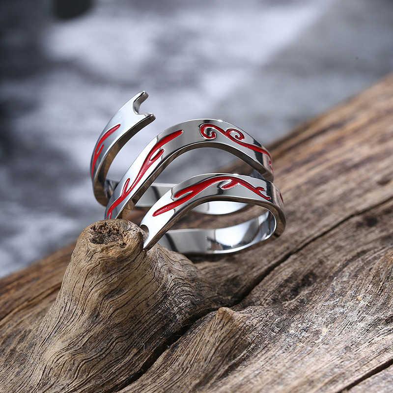 งูสีแดงแหวนสแตนเลสสำหรับผู้หญิงผู้ชายจีนตำนาน Story แหวน