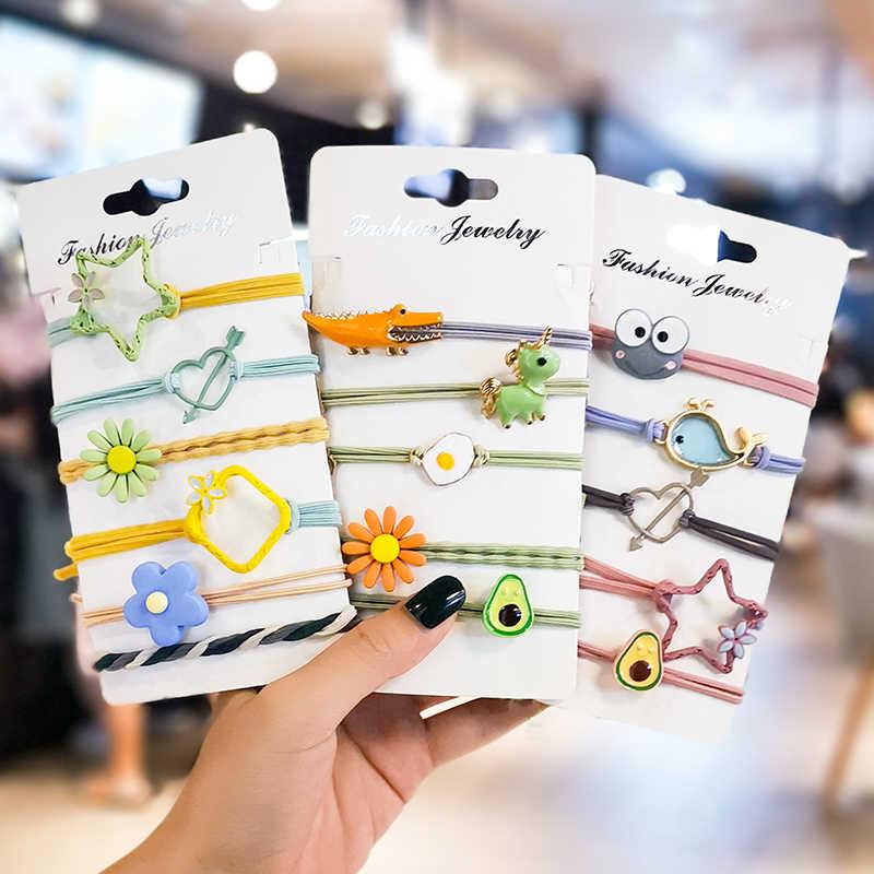 ユニコーン花のヘアロープゴムバンドの毛リングセット革ヘッドロープ韓国スモール新鮮でシンプルな人格素敵な