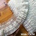 7,5 см широкая красивая белая черная плиссированная шифоновая гипюровая кружевная ткань, лента с бахромой, Эластичная отделка рюшами, платье...