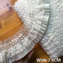 7.5 cm de largura bonito branco preto plissado chiffon guipure tecido renda franja fita elástico plissado guarnição vestido colarinho costura decoração