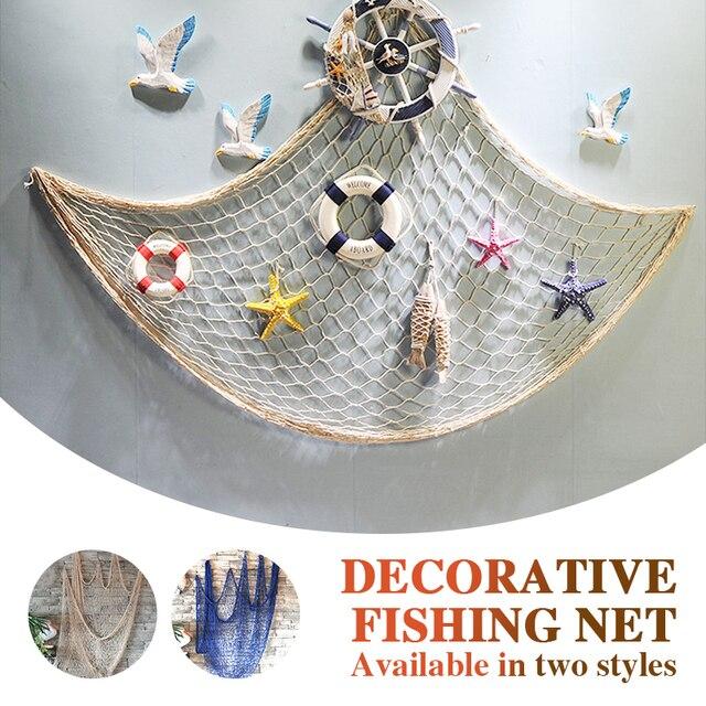 Filet de pêche décoratif mural   Corde en chanvre de 1*2M, décoration murale, filets décoratifs de Bar méditerranéen bleu/Beige, pêche nautique