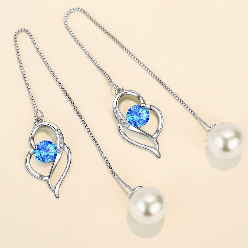 NEHZY 925 Sterling Silver New Women's Fashion Jewelry Earline High Quality Crystal Zircon Pearl Long Tassel Heart Earrings