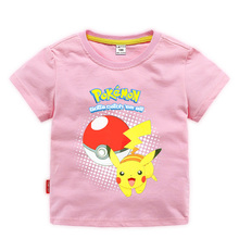 3-10Years Summer children kids Shorts t-shirts cotton Pokemon Go boys girlls tops tees pikachu t shirts for baby clothes